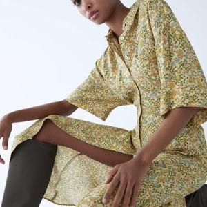 Zara floral shirt dress NWT